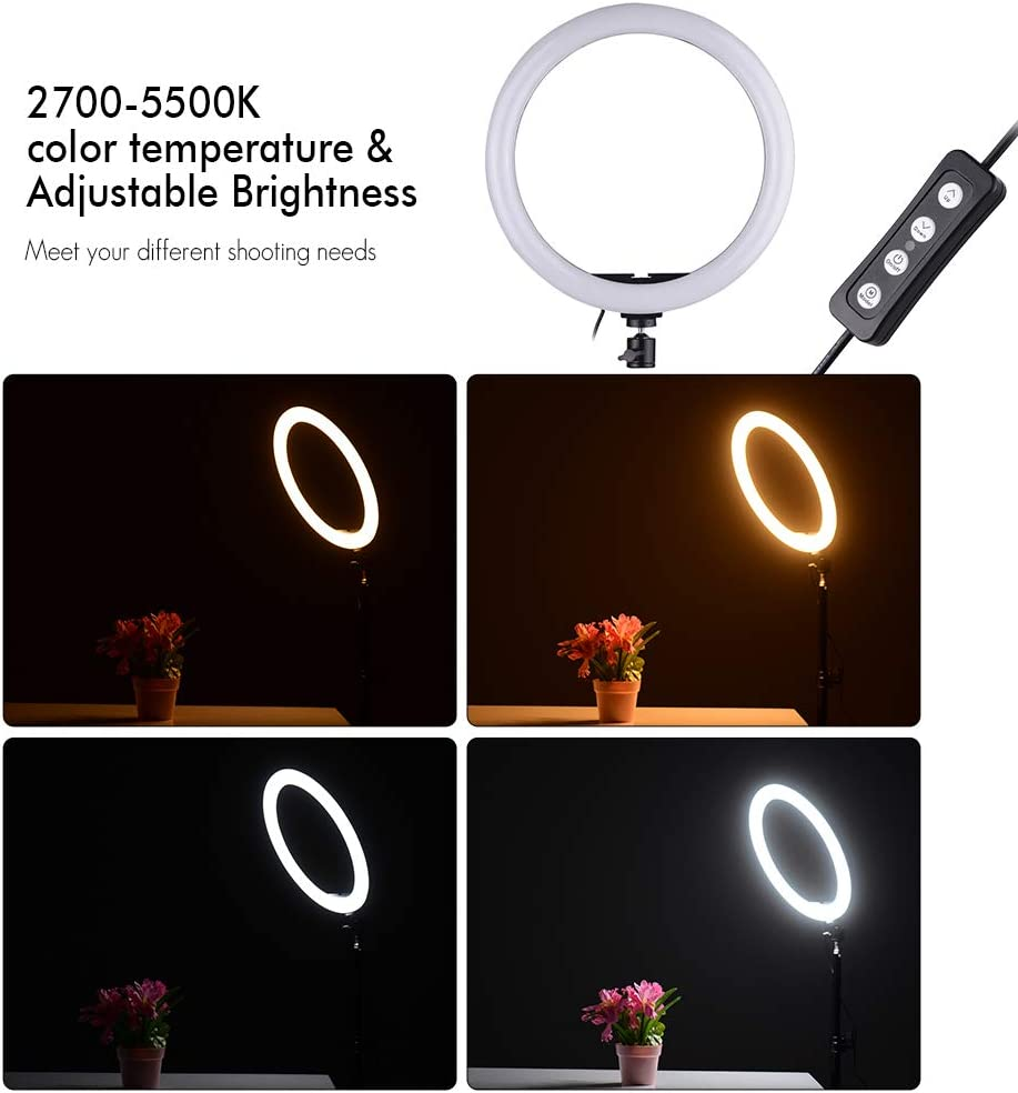 FDGBCF Portable Selfie Video Ring Light Dimmable 24W LED Lamp Ring Light Camera Phone Photography Enhancing with Phone Holder Ring Light,US