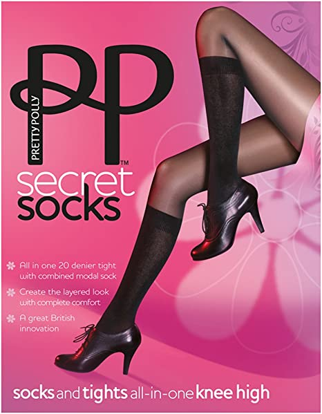 2XPretty Polly Secret Socks Tights Perfect For Wearing With Boots  Black  S//M