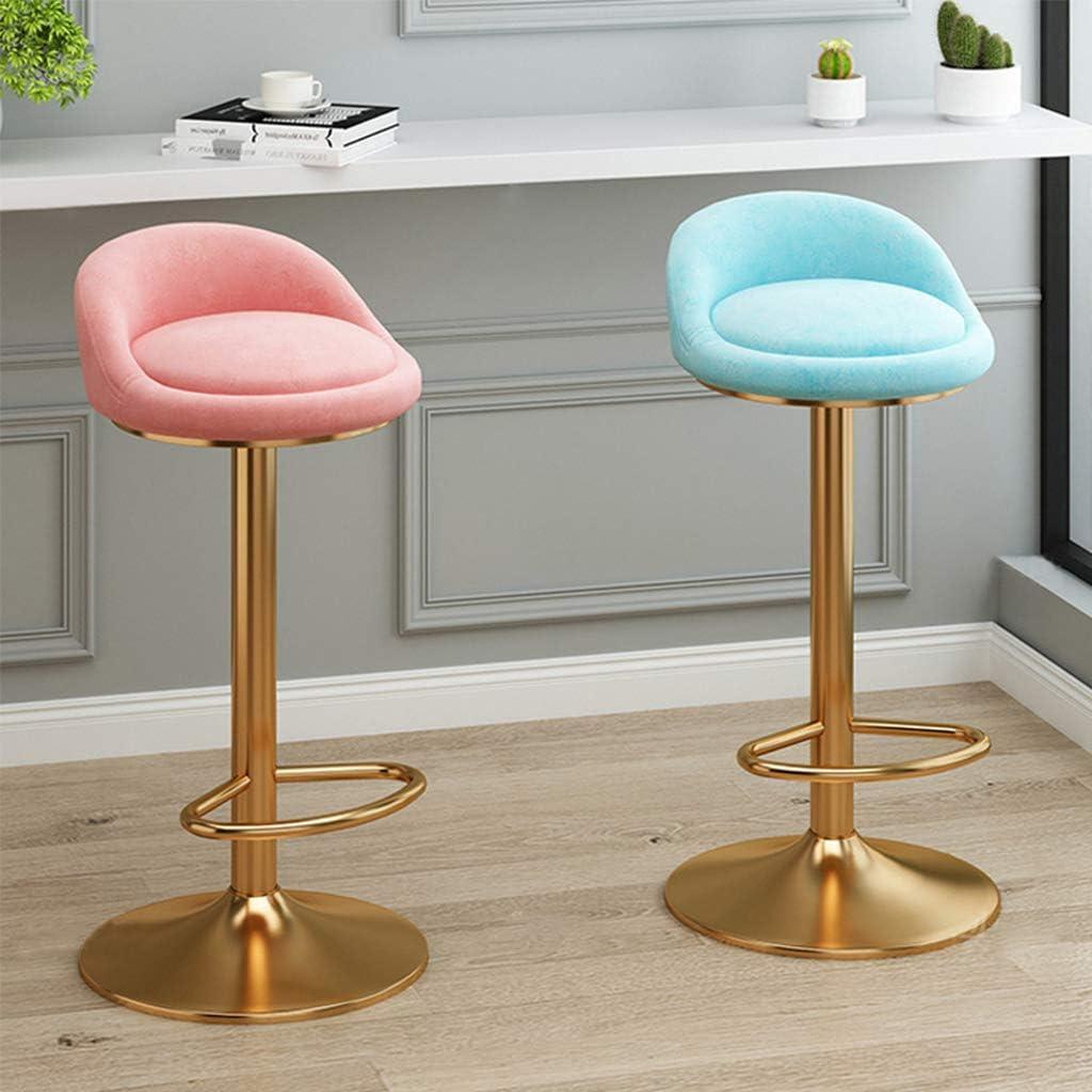 Bar Stools Modern Velvet Comfortable Upholstered Seat Swivel Adjustable Barstools Kitchen Counter Height with Backs Gold