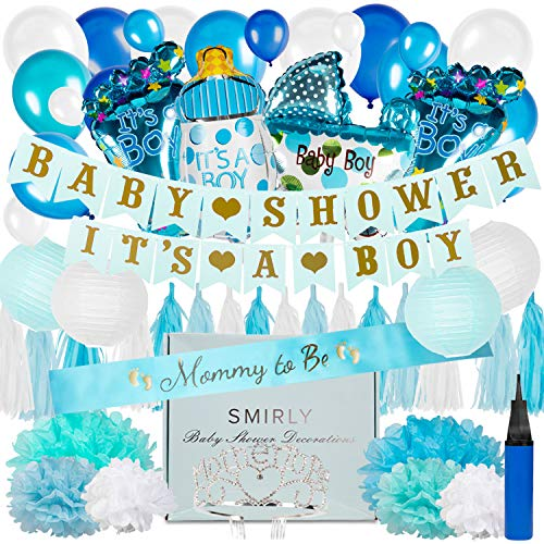 Baby Shower Decorations for Boy Kit: Blue, White, and Champagne Gold Party Decor - Its A Boy Banner, Balloons, Tissue Paper Pom Poms and Hanging Lantern Decoration Bundle - Includes Sash and Tiara