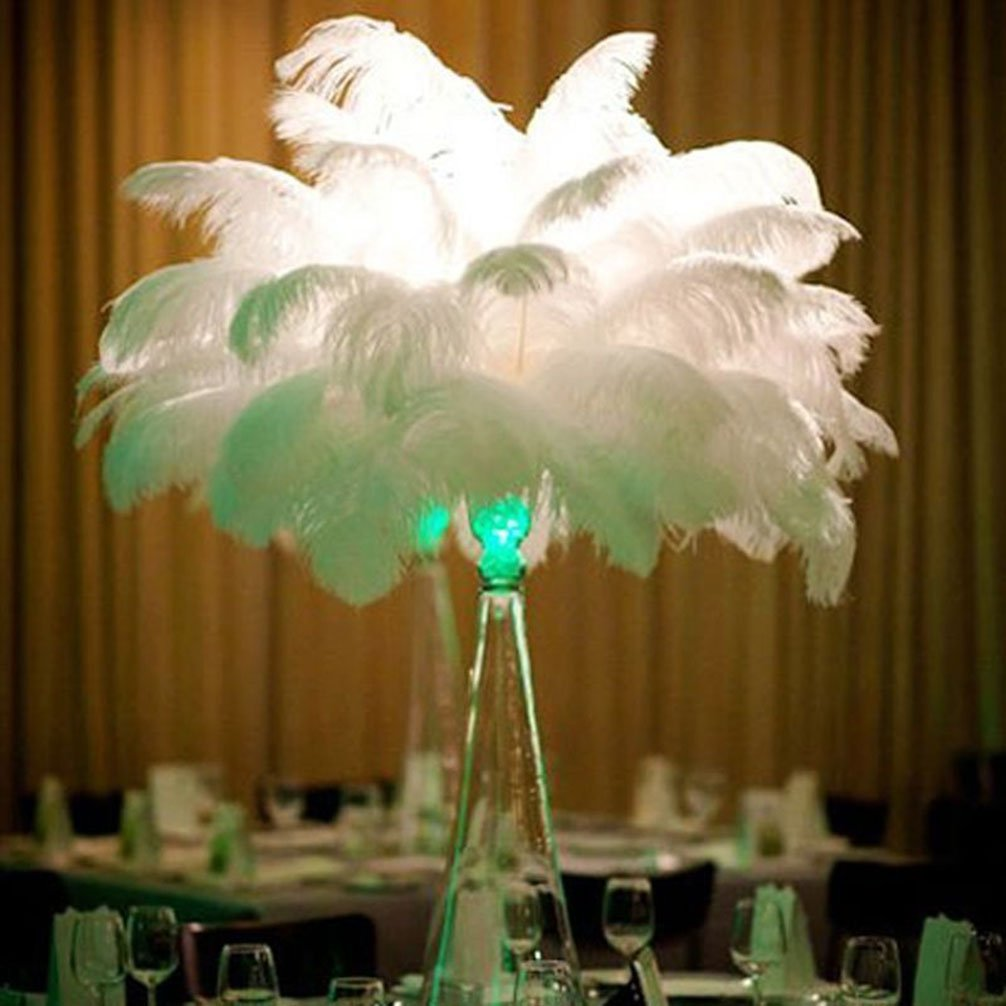AWAYTR Natural 20-22 inch(50-55cm) Ostrich Feathers Plume for Wedding Centerpieces Home Decoration White 50 Pcs by AWAYTR (Image #7)