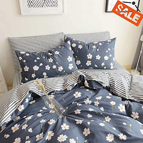Cotton Duvet Cover Sets Queen Bedding Sets Soft Navy Blue Boho Hotel Bedding Sets Full Reversible Floral Plant Design Geometric Bedding Cover Sets for All Season 1 Duvet Cover 2 Pillowcases Queen