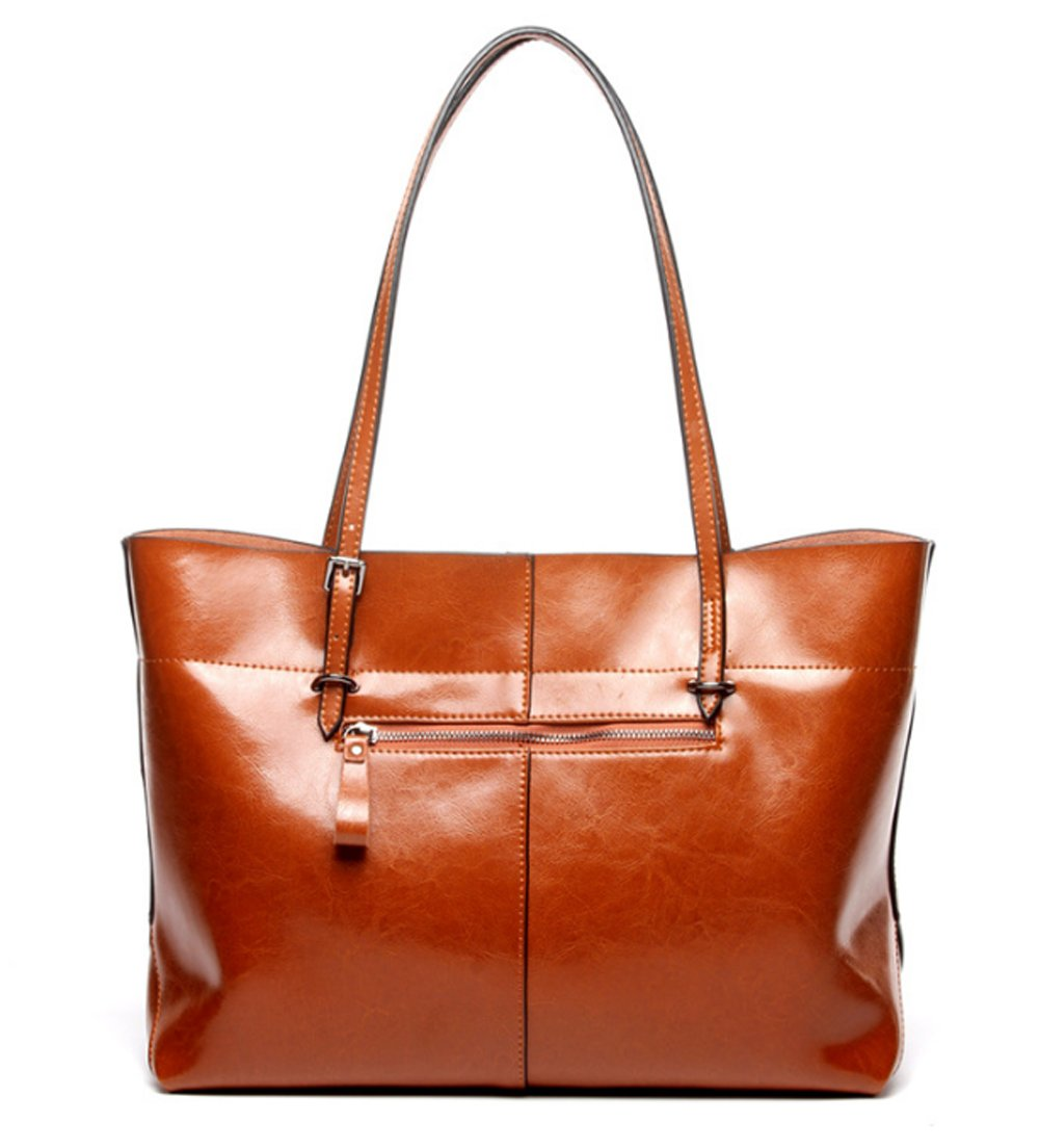 Covelin Women's Handbag Genuine Leather Tote Shoulder Bags Soft Hot Brown by Covelin (Image #4)