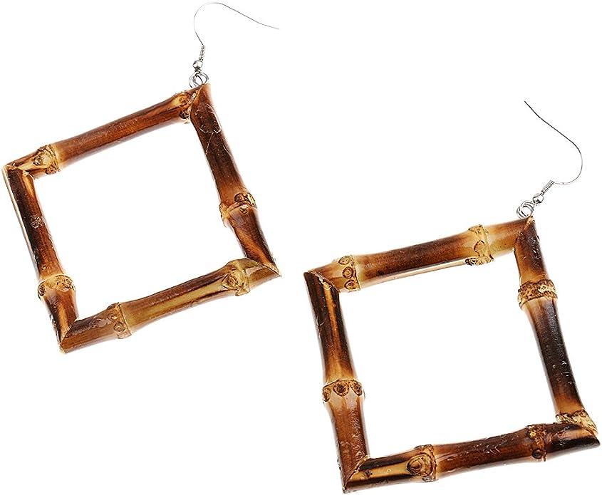 MonkeyJack Vintage Country Style Fresh Natural Bamboo Square Dangle Hook Earrings