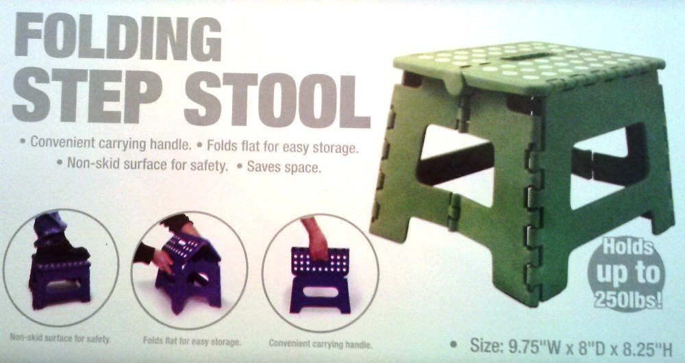 Home Basics - Folding Step Stool - Green