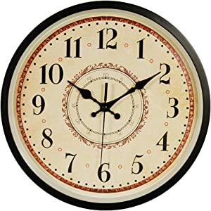 JUSTUP Wall Clock, 12 inch Black Wall Clock European Style Retro Vintage Clock Non - Ticking Whisper Quiet Battery Operated with HD Glass Easy to Read for Indoor Decor (Arabic)