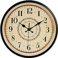 JUSTUP Wall Clock, 12 inch Black Wall Clock European Style Retro Vintage Clock Non - Ticking Whisper Quiet Battery…
