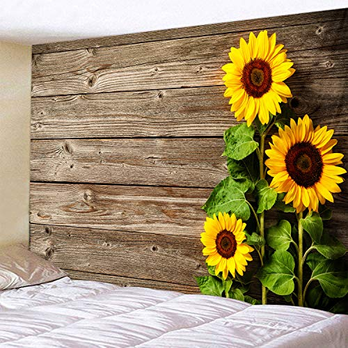 - Old Wooden Board Sunflower Print Fabric Tapestry Decor Wall Art Tablecloths Bedspread Picnic Blanket Beach Throw Tapestries Colorful Bedroom Hall Dorm Living Room Hanging 79x59 inches
