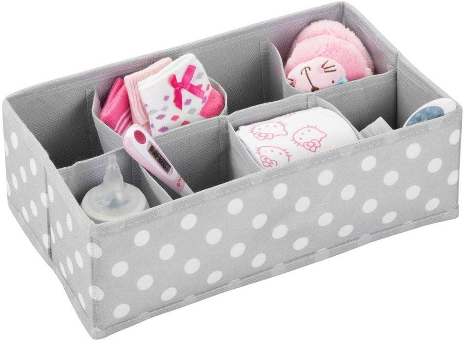 Baby Organiser and Wardrobe Storage for Nappies Grey//White 8 Pocket Fabric Storage Box mDesign Set of 3 Nursery Storage Box and More