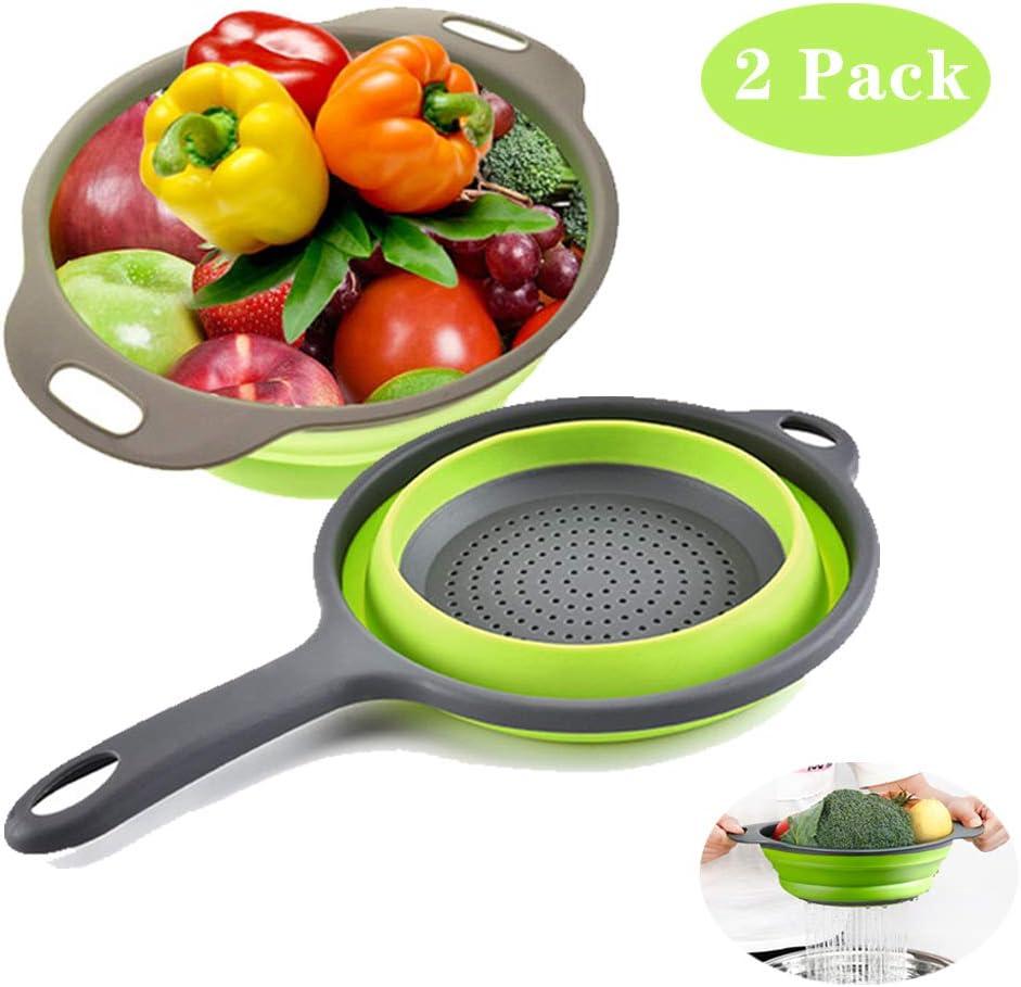 Silicone Collapsible Colander Set, Nanateer Kitchen Colander Strainer, Over the Sink Vegetable/Fruit Flexible strainer, Folding Strainer for Kitchen (2 Pack)