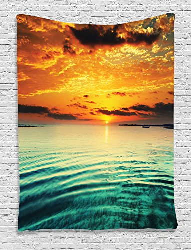 Kids Birthday Decoration Ideas At Home (Ambesonne Ocean Decor Collection, Sunset at a Bay with a Small Boat at a Distance Tranquil Sea Surges Slightly Photography, Bedroom Living Room Dorm Wall Hanging Tapestry, Dark Cyan Orange)
