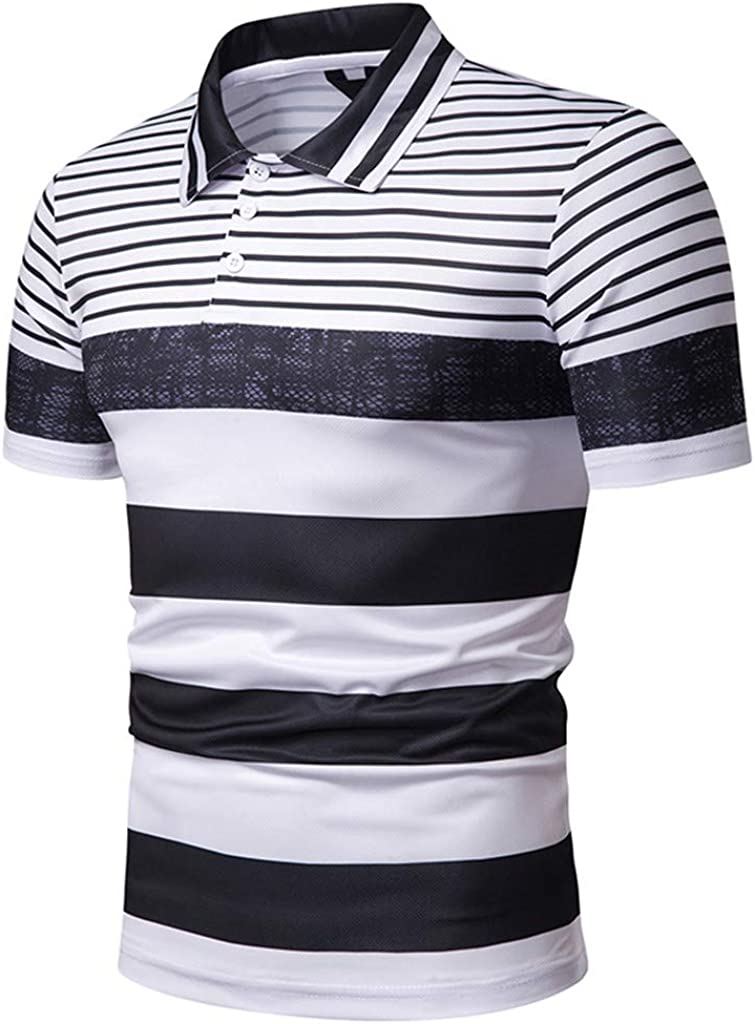 Simayixx Sport Clothes Mens Regular-Fit Cotton Pique Shirt Summer Beach Tops Striped Button Blouses 2XL