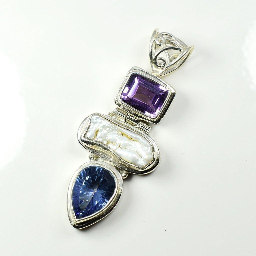 Gemsonclick Natural Multi Colour Gemstone Pendant Mixed Shape 925 Sterling Silver MSP-146