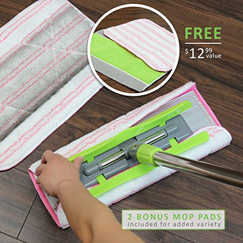 LINKYO Microfiber Hardwood Floor Mop - 3 Reusable Flat Mop Pads and Extension Included, for Wet or Dry Floor Cleaning by LINKYO (Image #6)