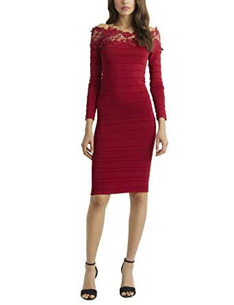 LIPSY Womens Off Shoulder Lace Dress Red US 0 (UK 4)
