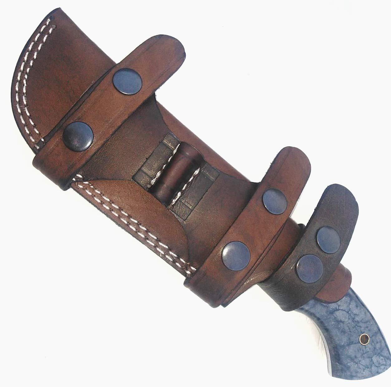 Ottoza Custom Handmade Dark Brown Right Hand Leather Knife Sheath for Bushcraft Knife - Hunting Knife - Camping Knife - Survival Knife - Skinning Knife Horizontal Scout/Cow - Buffalo Leather No:2 by Ottoza