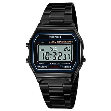 Reloj para hombres, 1123 Reloj analógico digital de cuarzo Reloj clásico casual para hombres Fecha Semana El con correa de acero inoxidable (negro): ...