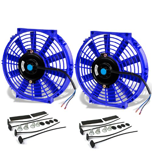 ((Pack of 2) 10 Inch High Performance 12V Electric Slim Radiator Cooling Fan w/Mounting Kit - Blue)
