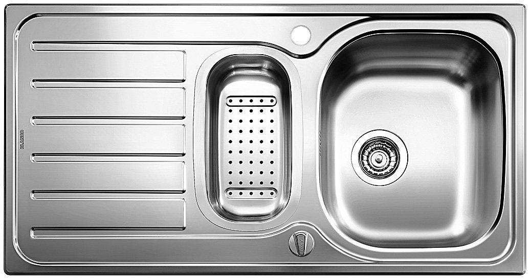 Blanco Lanis 9 E, Eckspüle, Küchenspüle, mit Ablauffernbedienung und Schale, Edelstahl Bürstfinish; 516051
