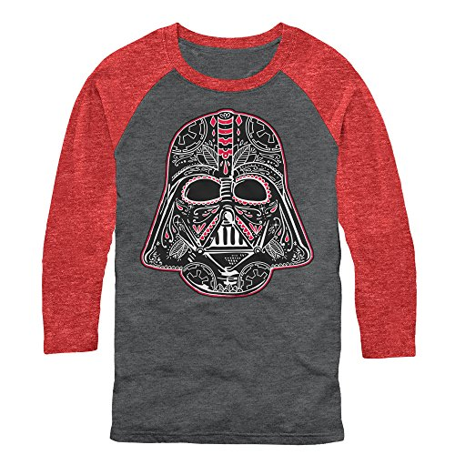 (Star Wars Men's Sugar Skull Vader Arctic Gray/rust Red Baseball Tee)