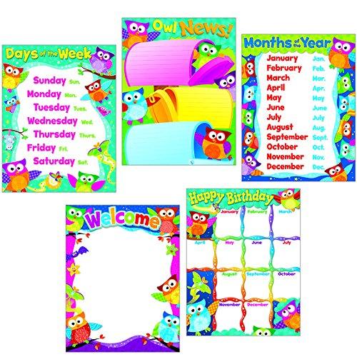 Trend Enterprises Classroom Basics Owl-Stars! Learning Charts Combo Pack (T-38959)