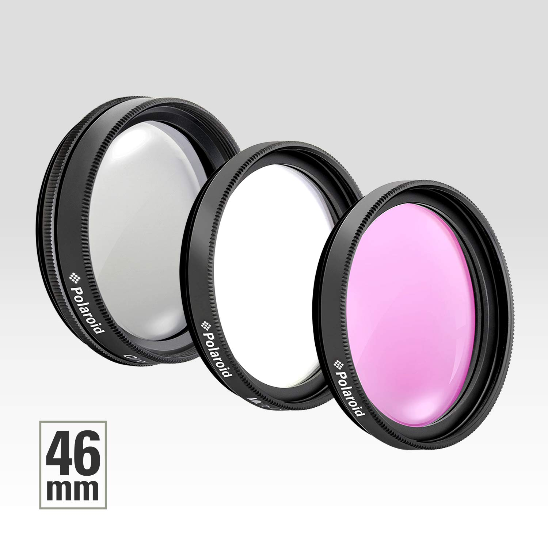 Black UV, CPL, FLD Polaroid PL-3FIL49 Optics 49mm 3 Piece Filter Set