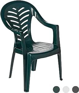 Resol Palma silla de jardín - verde - Patio plástico al aire libre muebles (solo): Amazon.es: Jardín