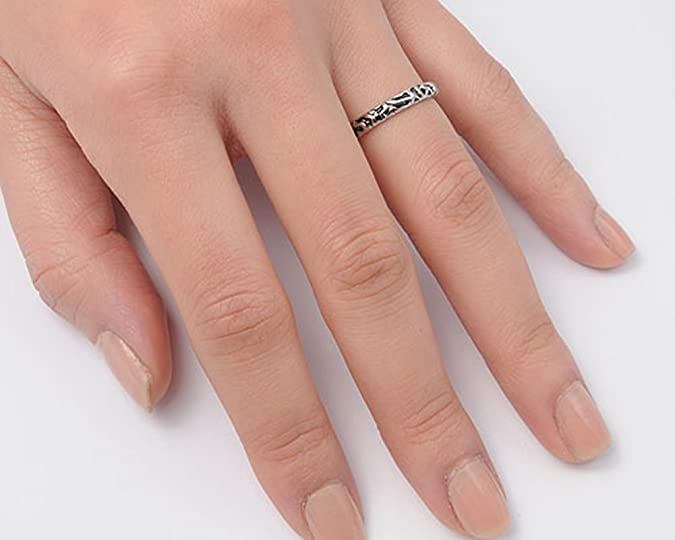 Eternity Bali Beautiful Stackable Ring .925 Sterling Silver 3mm Band Sizes 4-10