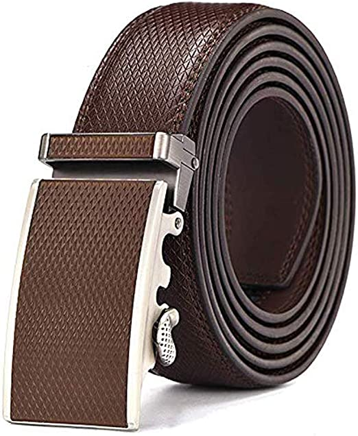 Mens Leather Belts Rachet Waistband Strap for Automatic Buckle Cowhide Solid