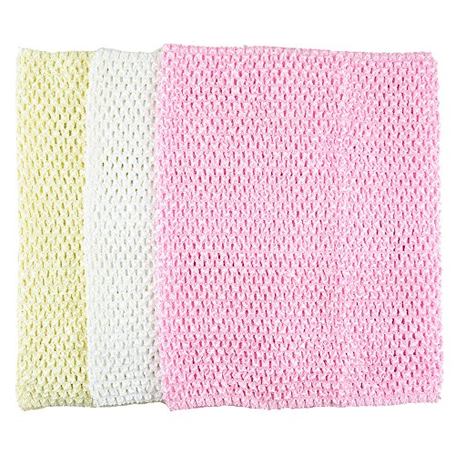 Aisila Pack of 3 12 Inch Handmade Baby Girl Silk Crochet Tutu Tube Top Chest Wrap for Toddler Infants(AID05-D) Silk Crochet