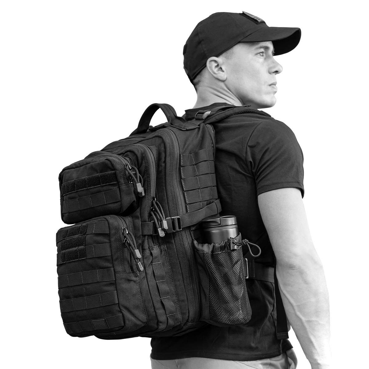 SERGEANT Military Tactical Backpack, 1050D Ballistic Nylon, YKK Zippers, UTX Buckles, Molle. 35L 1-Day, Small Size, Assault Pack, Bug Out Bag, Rucksack, Daypack, Range, Camping, Hiking, Hunting.