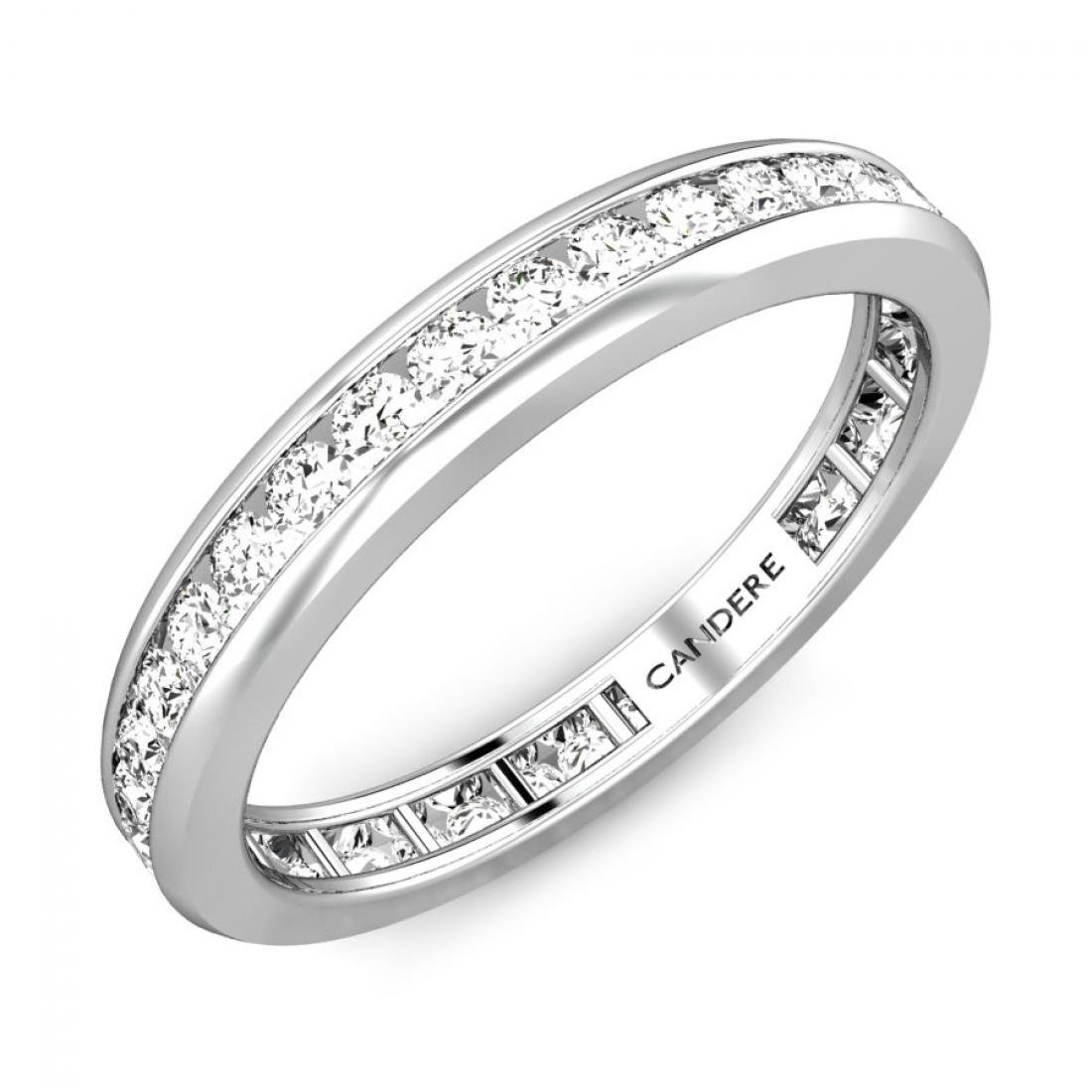 925 Sterling Silver 0.80 ctw Channel Set Round White Diamond Full Eternity Stackable Band for Her (IGI, I-J, SI1-SI2)