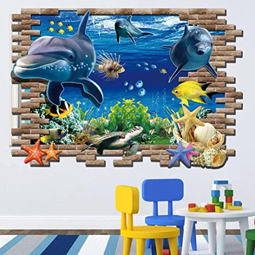 Wall Stickers,Geyou 3D Removable Sea Whale Fish Sports Wall Sticker For Kids Home Living Room Decor Art Vinyl Mural Decal New (A) - Item Sports Wall Stickers