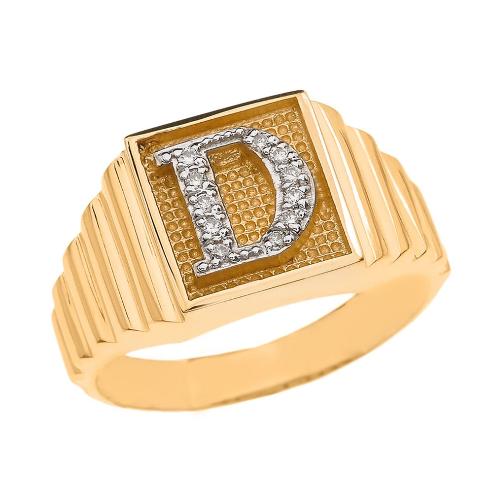 Men's 10k Yellow Gold Layered Band Square Face Diamond Initial Letter D Ring (Size 10)