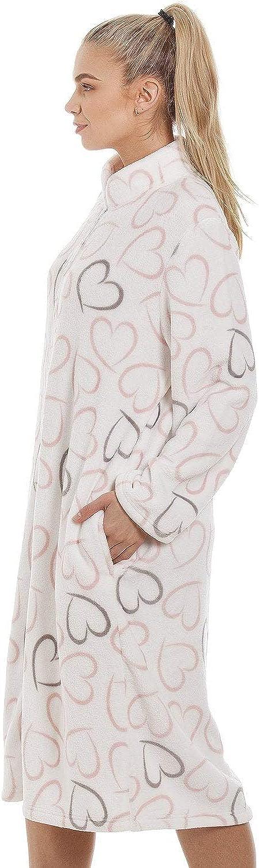 Camille Soft Fleece Pink Zip Housecoat Frontal