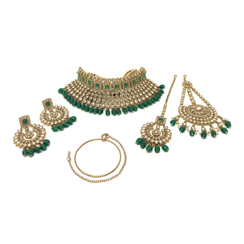 Stunning Bridal Ethnic Indian Necklace, Dangle Earring, Nose Ring, Maang Tika, Jhoomar Set with White Stones and Green Beads