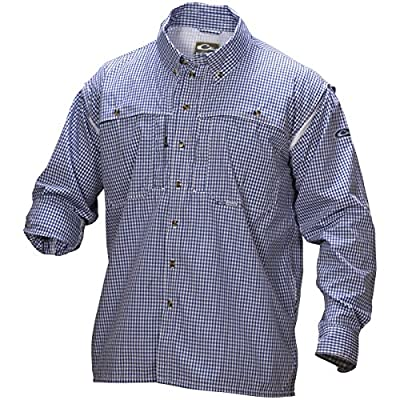 Drake Wingshooter Game Day Plaid Long Sleeve Shirt (Navy Blue) (Men's XL)