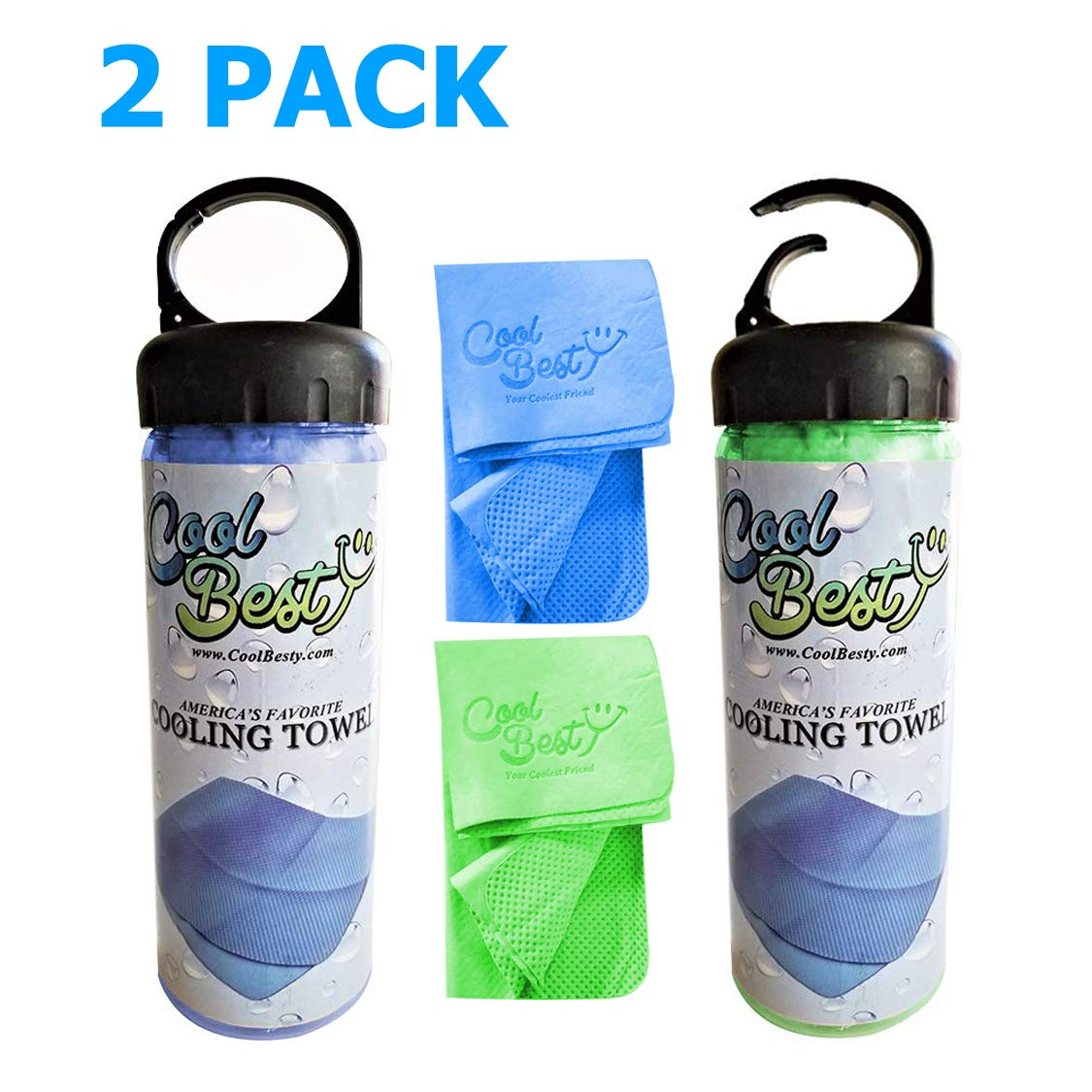 Cool Besty 2 Pack-Blue/Green - Cooling Towel-Workout/Tennis/Golf/Biking-Best for Any Sport Activities&Athletes Cold Towel-Chilly Pad Instant Cooling Snap Towel-Perfect for Fitness&Gym