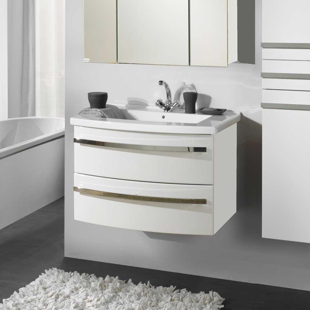 Hochglanz Waschtisch in Weiß 80 cm Waschbecken im Lieferumfang enthalten Mit Einlass-Waschbecken Ohne Pharao24