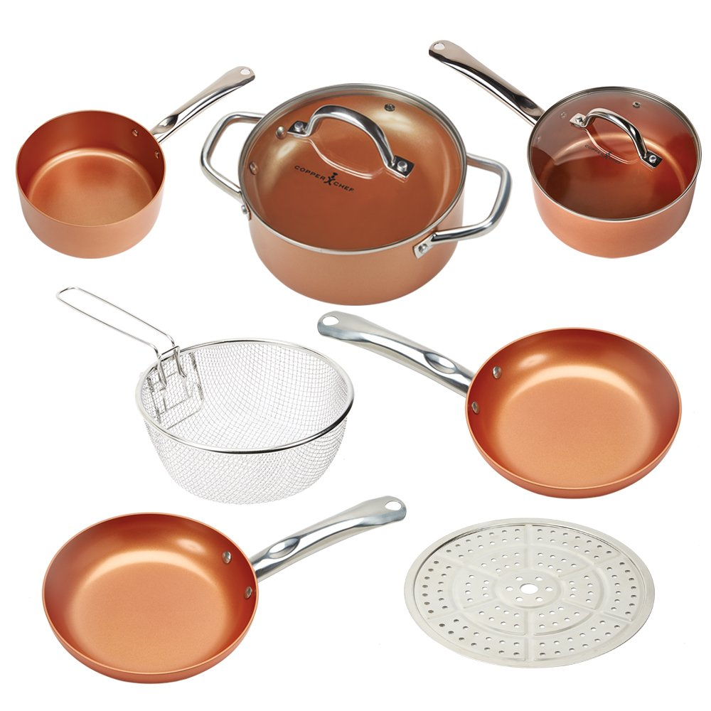 Copper Chef Cookware 9-Pc. Round Pan Set –Aluminum & Steel With Ceramic Non Stick Coating. Includes Lids, Frying and Roasting Pans Accessories Tristar Products Inc B074XJ6R2B