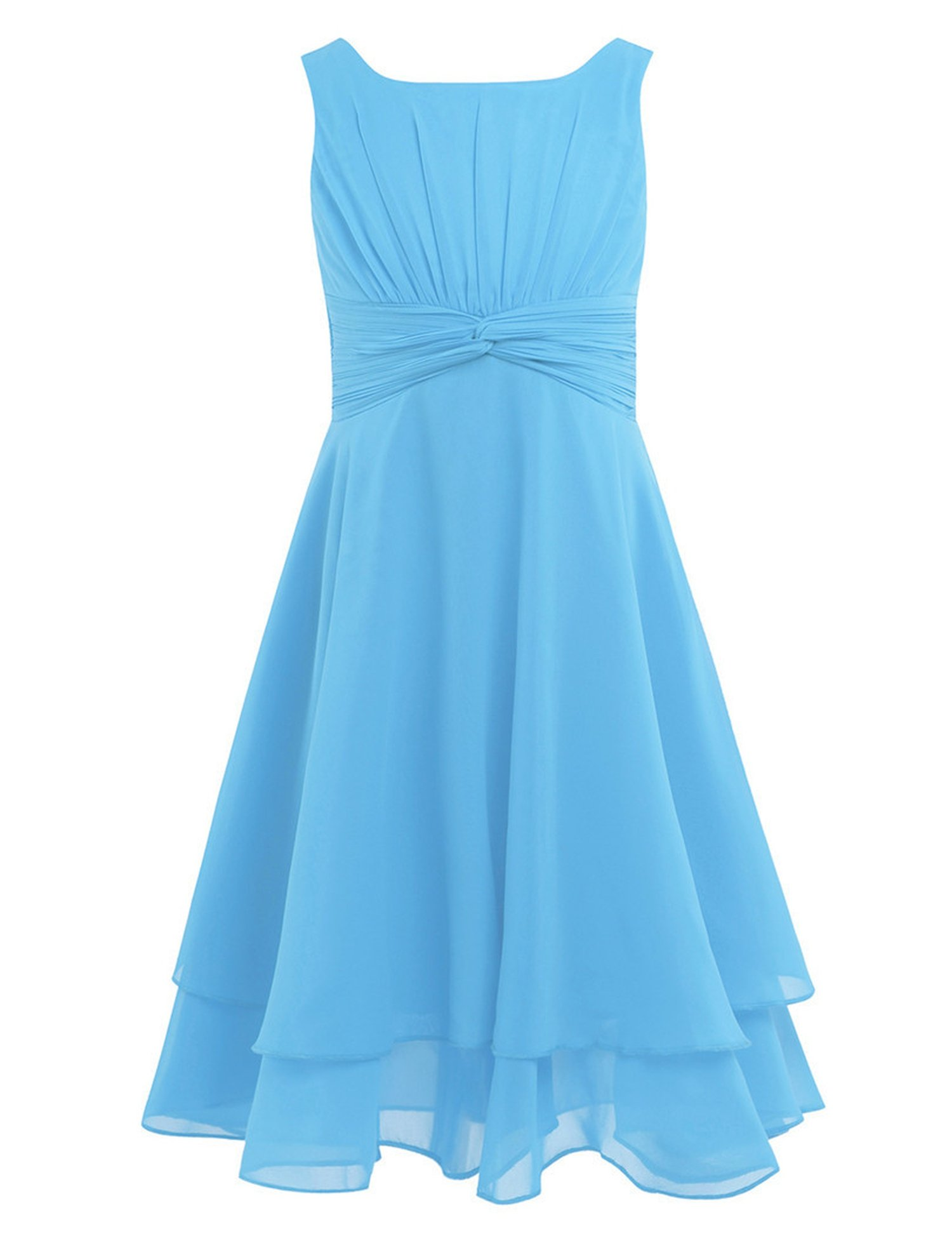 Toping Fine girl dress Flower Girl Summer Dress Vestidos De Primera Comunion for Weddings Ball Gowns Knee Length Dresses,Sky Blue,Child-12 by Toping Fine girl dress (Image #1)
