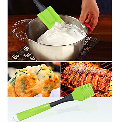 GREENWON Food Silicone BBQ Barbecue Baking Mixing Spatula Scraper and Brush Set 2pcs Cake Baking Pastry Basting Grill Barbecue Tools by GREENWON