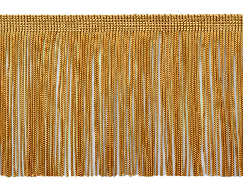 11 Yard Value Pack of 4 Inch Long Chainette Fringe Trim, Style# CF04 Color: Gold -C4 (32.5 Feet / 10M)