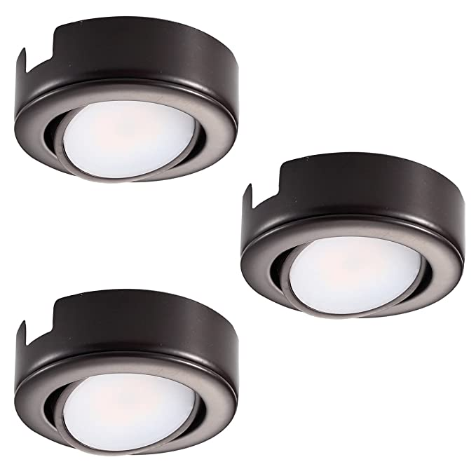 GetInLight Dimmable and Swivel, LED Puck Light Kit with ETL List, Recessed or Surface Mount Design, Warm White 2700K, Bronze Finish, (Pack of 3), ...