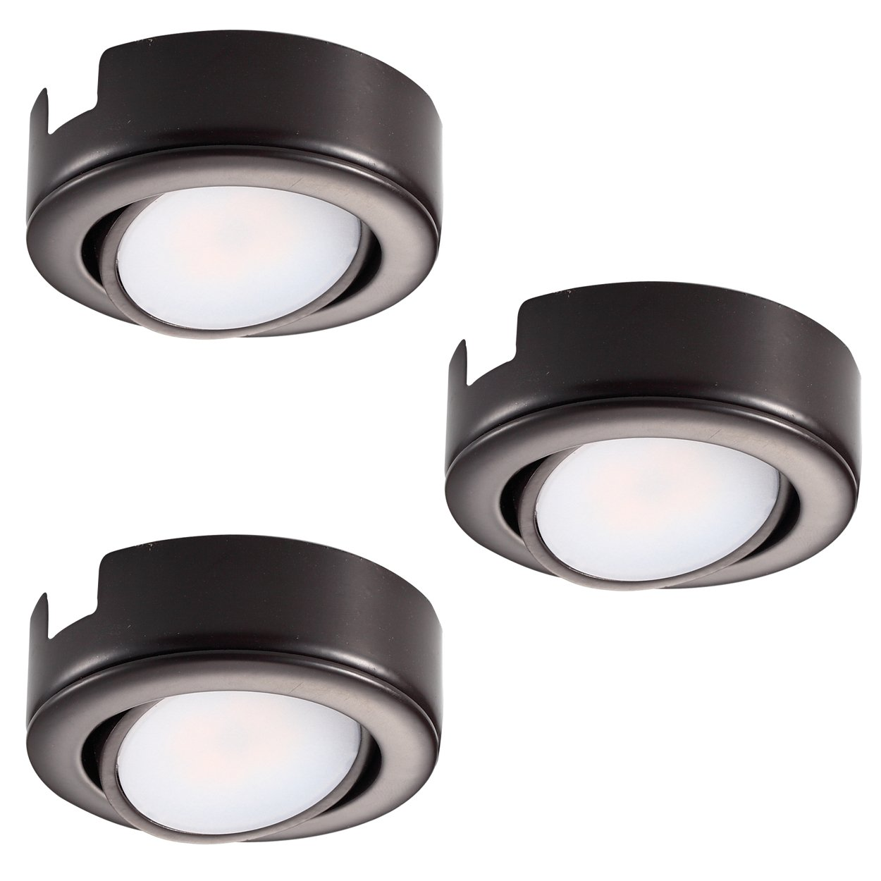 GetInLight Dimmable and Swivel, LED Puck Light Kit with ETL List, Recessed or Surface Mount Design, Warm White 2700K, Bronze Finish, (Pack of 3), IN-0107-3-BZ