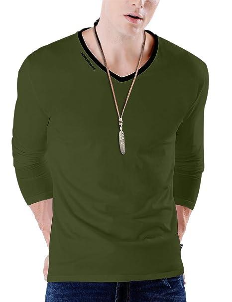 8b38befb1 JNC Men's V-Neck Casual Slim Fit Long Sleeve T-Shirts Cotton Shirts (