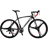 Extrbici XC550 Racing Road Bike Bicycle for Mens Adults 700Cx28C with Lightweight Carbon Steel Frame and Light Aluminium Alloy 21 Speeds Solid Integrated Wheel Double Disc Brakes Cycling US Stock