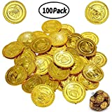 BESTZY 100 Pieces Pirate Gold Coins Plastic Coins Fake Treasure Coins for Party Favor