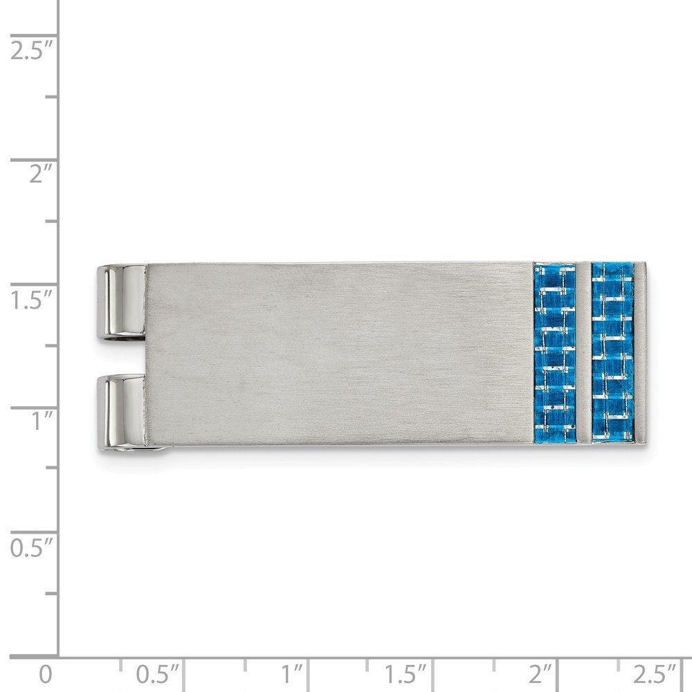 FB Jewels Solid Stainless Steel Brushed Blue Carbon Fiber Inlay Money Clip