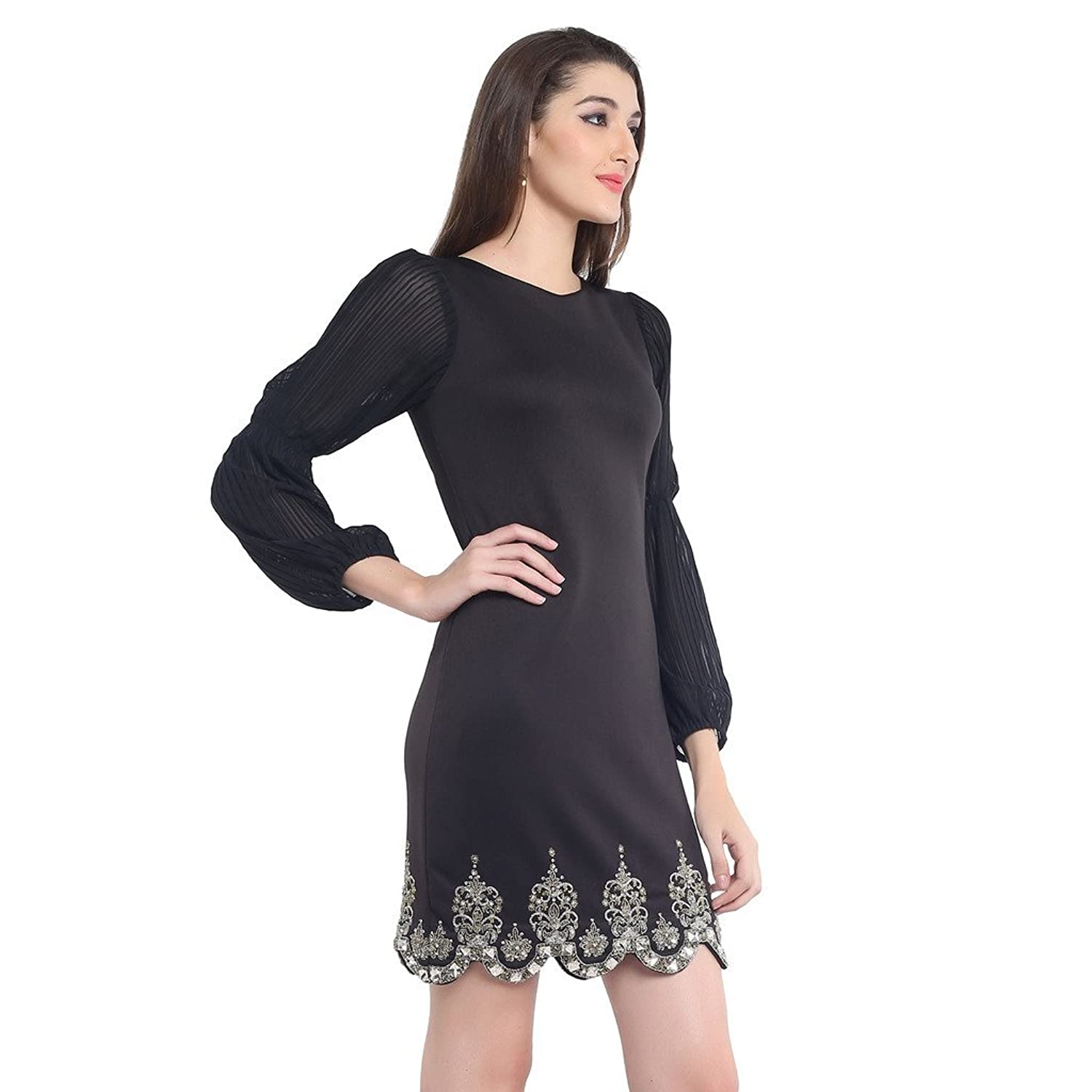 RS LABEL Women's An LBD With Unusual Sleeves Dress
